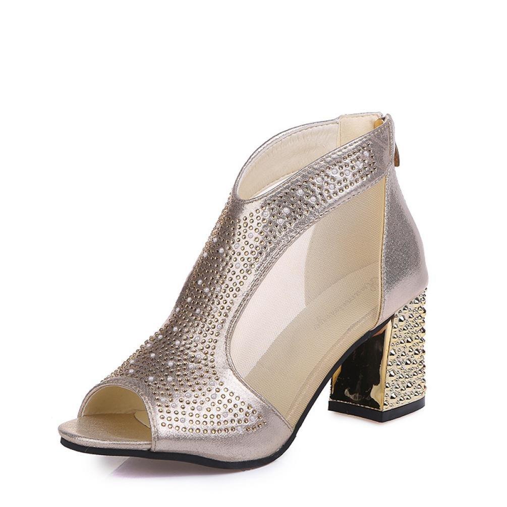CLEARANCE SALE! MEIbax Frauen Metall Schnalle Nieten Reiszlig;verschluss Fisch Mund rau mit hochhackigen Schuhen Sandalen (38, Gold)38|Gold