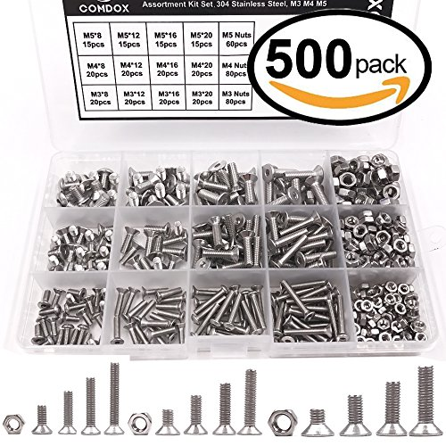 Comdox 500pcs Socket Cap Screws Hex Head Bolt Nuts Assortment Kit Set, Stainless Steel, M3 M4 M5 Thread Size, Full Thread, Countersunk Head, Allen Hex Drive - Hex Nut Kit