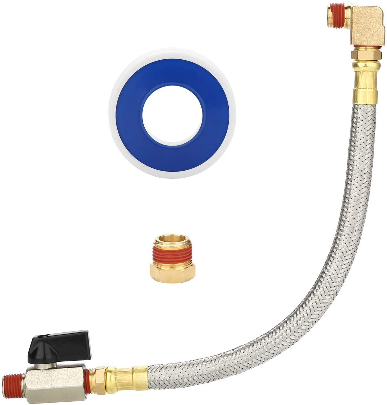 HK Extended Tank Drain Valve Assembly, 10 Inch Flexible Braided Steel Tube Air Compressor Tank Drain Hose 1/4 inch NPT, 90 Degree Brass Elbow Shut-Off Ball Valve, Pipe Fitting and Thread Seal Tape