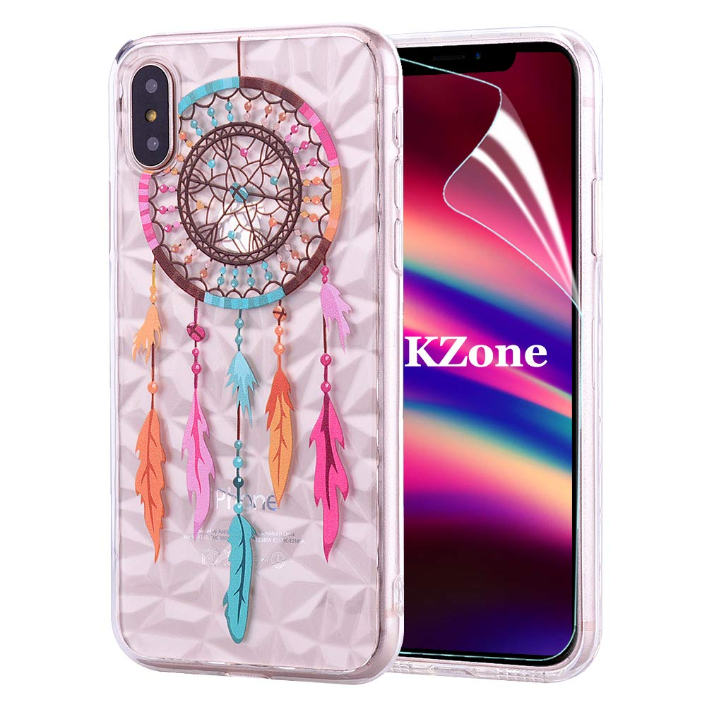 OKZone Coque iPhone XS Max [avec Film de Protection é cran HD], 3D Design Contemporain Mince Gé omé trique É lé gant Motif É tui en Souple TPU Housse Etui de Protection pour Apple iPhone XS Max (Plume)
