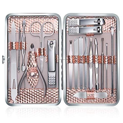 (Manicure Set Professional Nail Clippers Kit Pedicure Care Tools-Stainless Steel Women Grooming Kit 18Pcs With PU Leather Case for Travel or Home(Rose Gold))