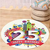 VROSELV Custom carpet25th Birthday Decorations Fun Celebration Greeting Card Inspired with Number Text Label for Bedroom Living Room Dorm Multicolor Round 72 inches