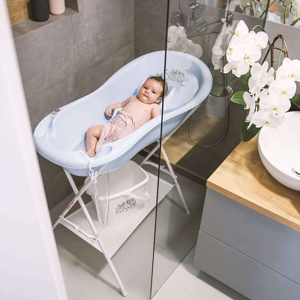 Baby Bath seat Bathtub with a Plug and Anti-Slip mat LUPPEE Baby Bath with Drain 84 cm Grey