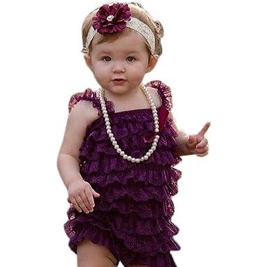 9cf6e0d29e7 Amazon.com  Kadees Kloset Purple Lace baby romper  Clothing