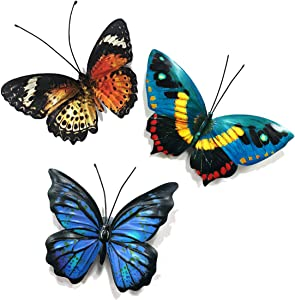 Metal Butterfly Wall Decor - Butterflies Art Decorations for Kitchen,Porch Wall,Outdoor Garden,Patio,Fence,Living Room (Set of 3)