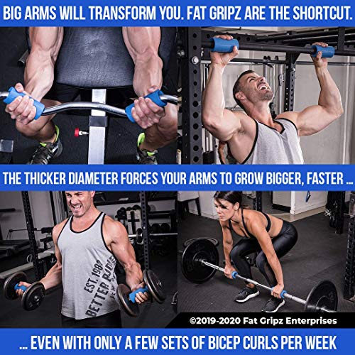 """Fat Gripz - The Simple Proven Way to Get Big Biceps & Forearms Fast (Winner of The Men's Health Magazine Home Gym Award 2020) (2.25"""" Outer Diameter) (Fat Grips)"""