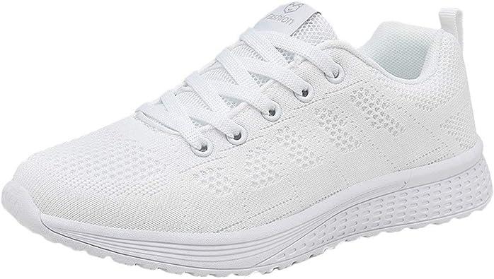 Zapatillas de Deporte Respirable para Correr Deportes Zapatos Running Cojines de Aire Calzado Mecedora Net para Estudiante Volar Zapatos Deportivas de Mujer Gimnasia Ligero Sneakers Atletismo riou: Amazon.es: Zapatos y complementos