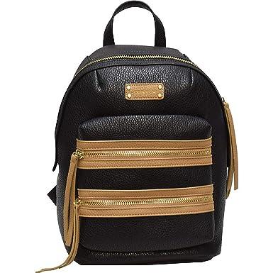 b2e5273af477 Adrienne Vittadini Pebble Grain Double Front Zip Backpack (Black)