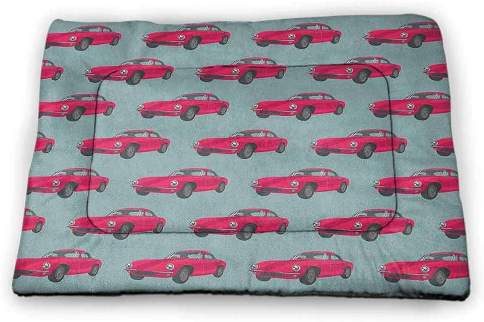 Yucou Cars Pet Food Mat Vintage Red Vehicles Retro Sports Cars from Sixties Fifties Driving Speeding Pet Mats for Litter Boxes Pink Slate Blue 23