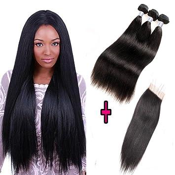 aa03aef49fb Amazon.com : Forawme Brazilian Virgin Hair Straight with Closure ...
