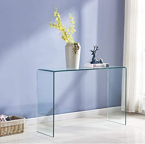 Transparent Glass Table, Clear Bent Modern Home Office Furniture, Tempered Glass Sofa Table for Entryway,Console Table with Rounded Edges Desks, Easy to Clean 43.3×13.78×29.52 inch