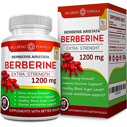 Berberine HCL Supplement-1200mg Potent Formula Berberine Complex for Blood Sugar Support-Immune Aid Function-Insulin Level Support-Glucose Metabolism-Cardiovascular-Gastrointestinal Function Support