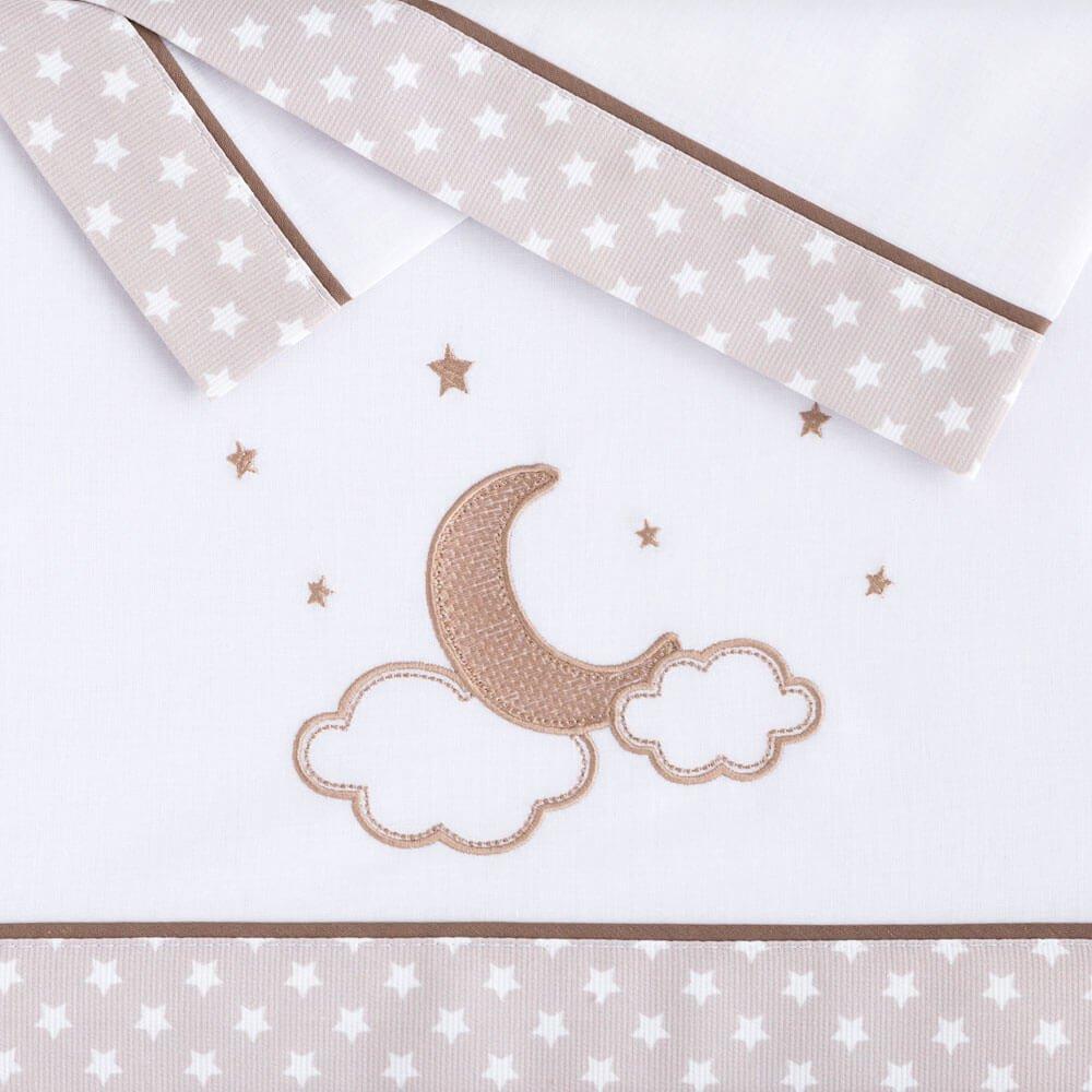 Juego Sábanas Franela minicuna Bebé de Pekebaby Moon lino