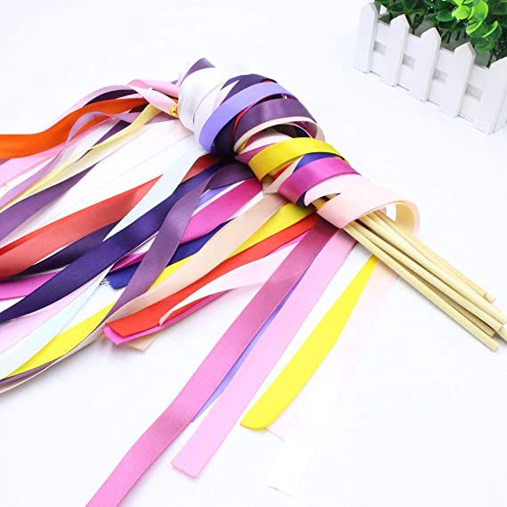 12pc Wedding Wands Ribbon Wand Fairy Stick Wedding Ribbon Streamers Stick#^