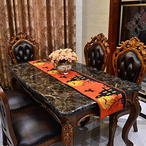 TamPa Halloween Pumpkin Long Table Runner with 4 Placemat Rectangle Table Cotton Linen Cloth Placemat for Kitchen Dining Home Decor