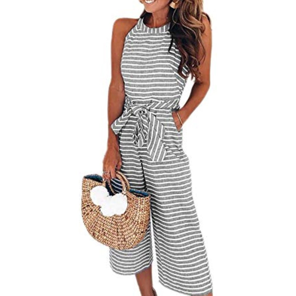 Yaso Women's Casual Striped Sleeveless Waist Belted Zipper Back Wide Leg Loose Jumpsuit Romper with Pockets Gray White S