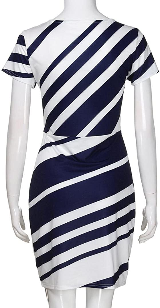 NREALY Falda Womens Working Dresses Pencil Stripe Party Dress Casual Mini Dresses