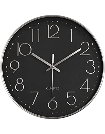 43a23a8404 Foxtop 12 inch Silent Non-Ticking Quartz Decorative Wall Clock Battery  Operated with Arabic Numbers