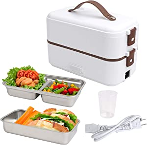 VAlinks Electric Lunch Box, Portable Electric Food Warmer Heater Lunch Box, 2 Layers Steamer Lunch Box for Home Office School Travel Camping - 800ML/110V