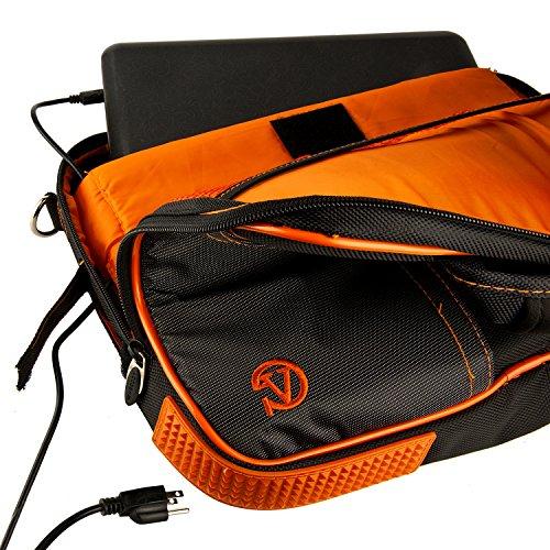 Pindar-Water-Resistant-Durable-Nylon-Protective-Messenger-Shoulder-Bag-ORANGEBLACK-For-Apple-MacBook-Air-133-Inch-Notebook-Laptop