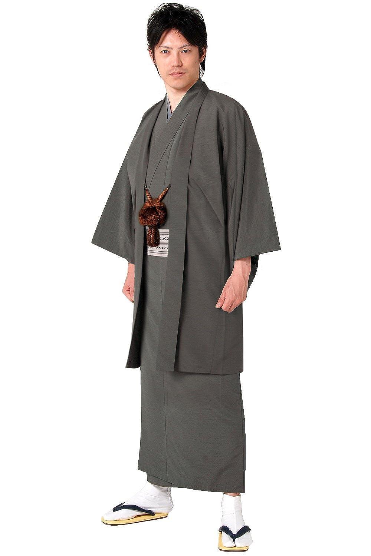(キョウエツ) KYOETSU メンズ袷着物と羽織のアンサンブル2点セット 正絹 無地 紬生地 袷 仕立て上がり B01FHGHII8  墨 L