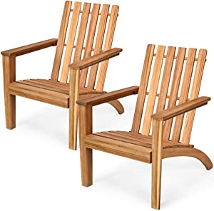 Giantex Wooden Adirondack Chair W/Ergonomic Design Outdoor Chair for Yard, Patio, Garden, Poolside, Balcony, Accent Furniture Armchair (2, Burlywood)