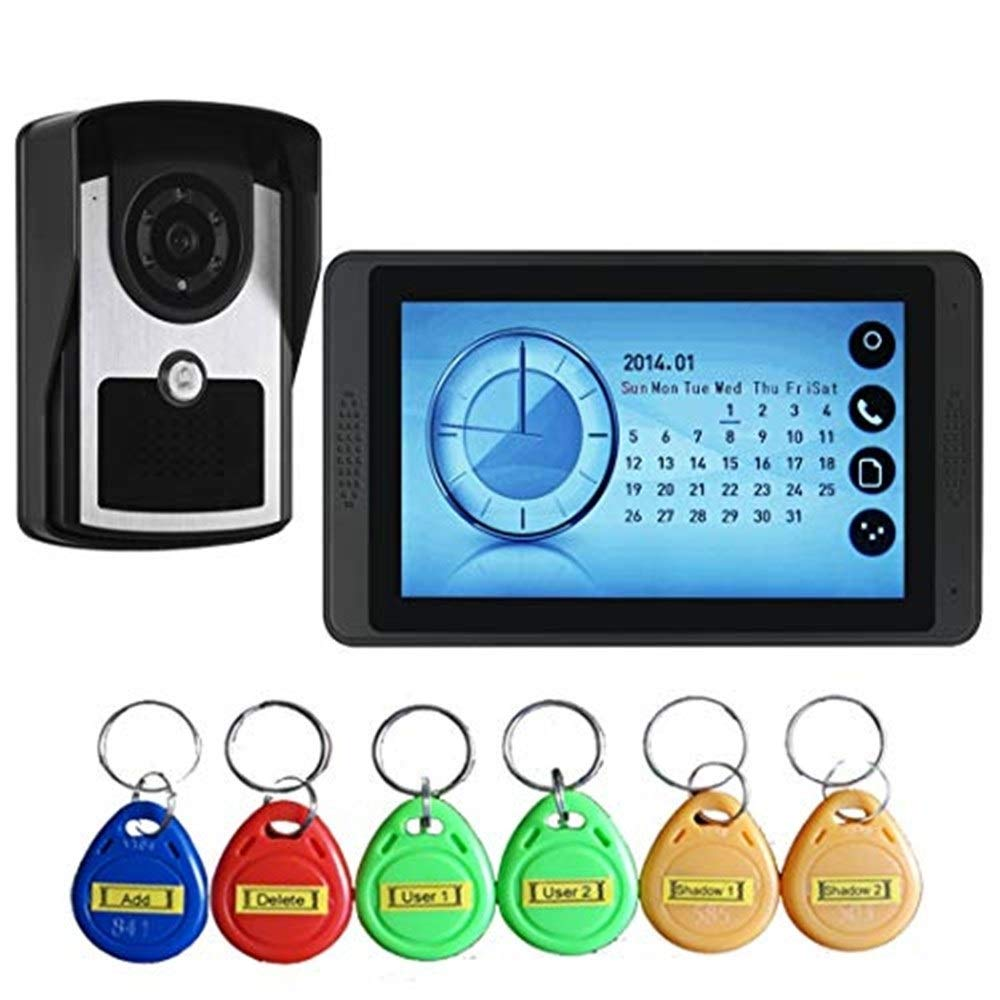 Video doorbell Waterproof Video Intercom Doorbell Wired Door Phone Entry Intercom Monitor System Wired Digital Touch Button Night Vision Swipe Card Unlock Electrically Controlled Unlock For Home Secur