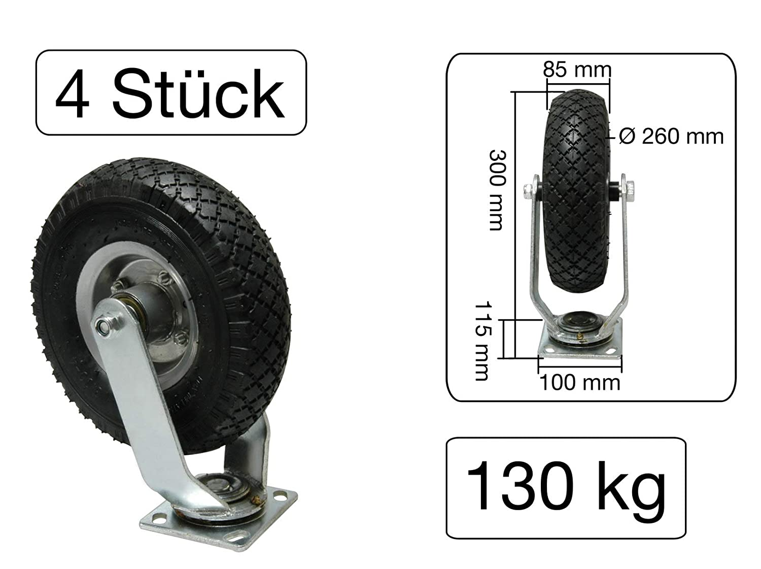 Pack of 4/with Ball Bearing Swivel Caster Pneumatic Tyres 260/x 85/mm Metal Rim