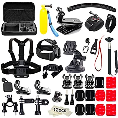 Soft Digits 50 in 1 Action Camera Accessories Kit for GoPro Hero 5 4 3+ 3 2 1 with Carrying Case/Chest Strap/Octopus Tripod by Soft Digits