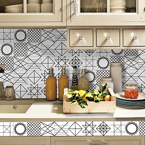 HyFanStr Backsplash Peel & Stick Tile Stickers Self-Adhesive Wall Floor Home Decor (7.87 x 197 inches)