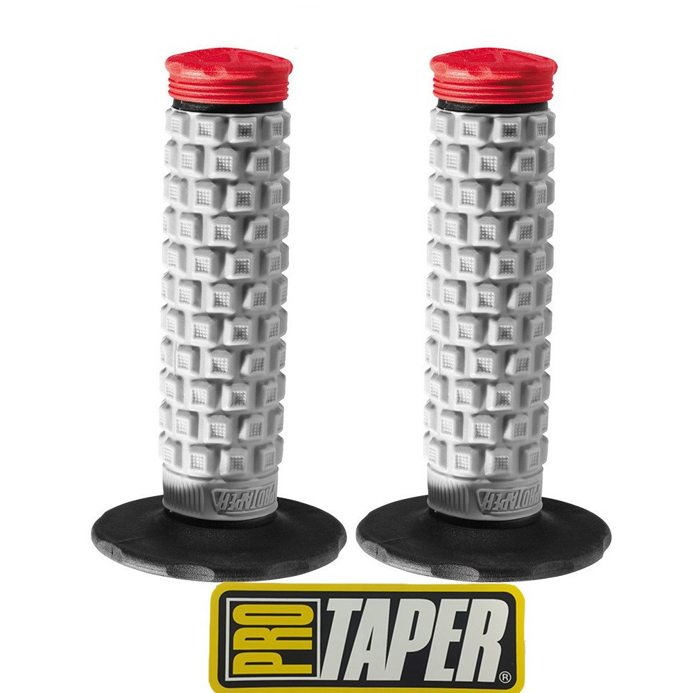 Pro Taper Pillow Top MX Handlebar Grips (Grey/Red) With Pro Taper Sticker