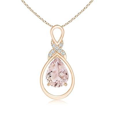 Angara Morganite Infinity Pendant with Diamond X Motif mdEJxzEk