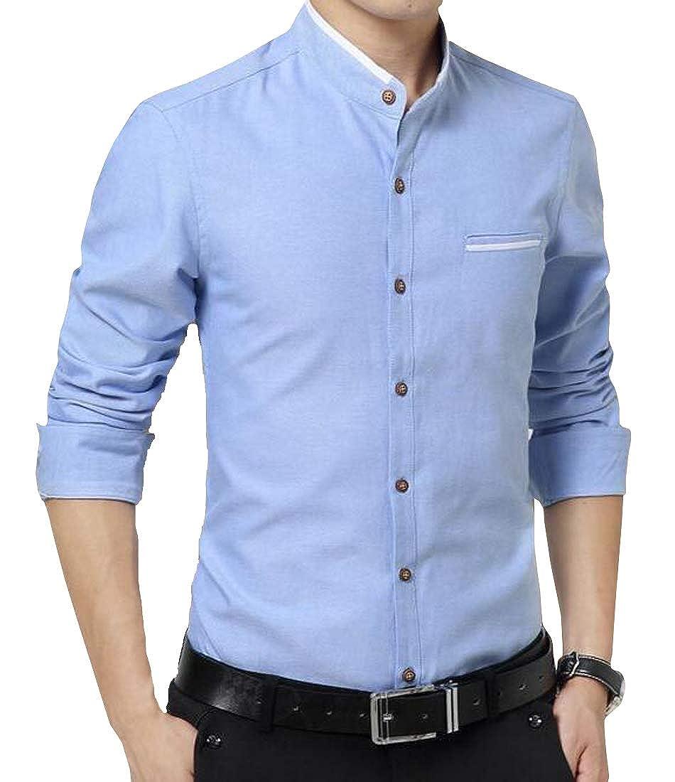 Pandapang Mens Long Sleeve Casual Slim Wrinkle-Free Button-Down Solid Dress Shirt