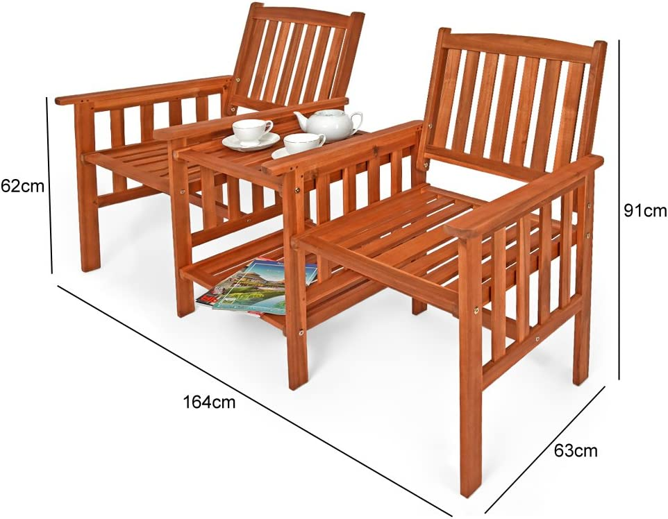 Solid acacia wood Garden Bench with Tea Table 2 Chairs Patio Furniture Loveseat