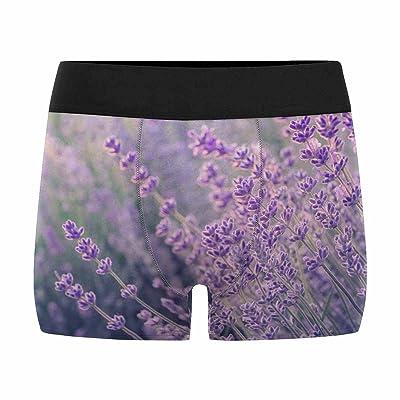 InterestPrint Mens Boxer Briefs Underwear Lavender Flowers Blooming in Sunlight (XS-3XL)