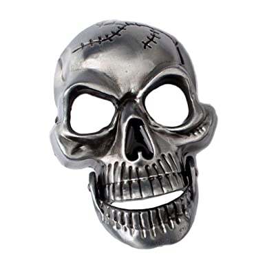 Skull Belt Buckle Silver Double Skull Bones Head Gothic Punk Accessories