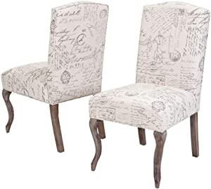 Christopher Knight Home CKH Crown Top French Script Fabric Dining Chairs, 2-Pcs Set, Beige / Script