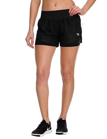 31d5e76ca9c8 Baleaf Women's Athletic 2 in 1 Double Layer Running Shorts Back Pocket  Workout Jogging Yoga Black