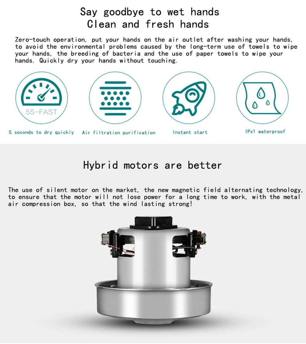Secador de manos rápido de Ajuste de frío y Calor 1200W, 7-12 Segundos automático de inducción Inteligente de Alta Velocidad, 9.76X7.48X20.47in: Amazon.es: ...