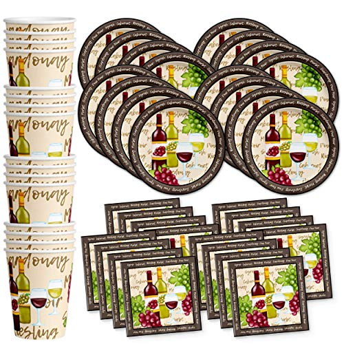 (Wine Birthday Party Supplies Set Plates Napkins Cups Tableware Kit for 16)