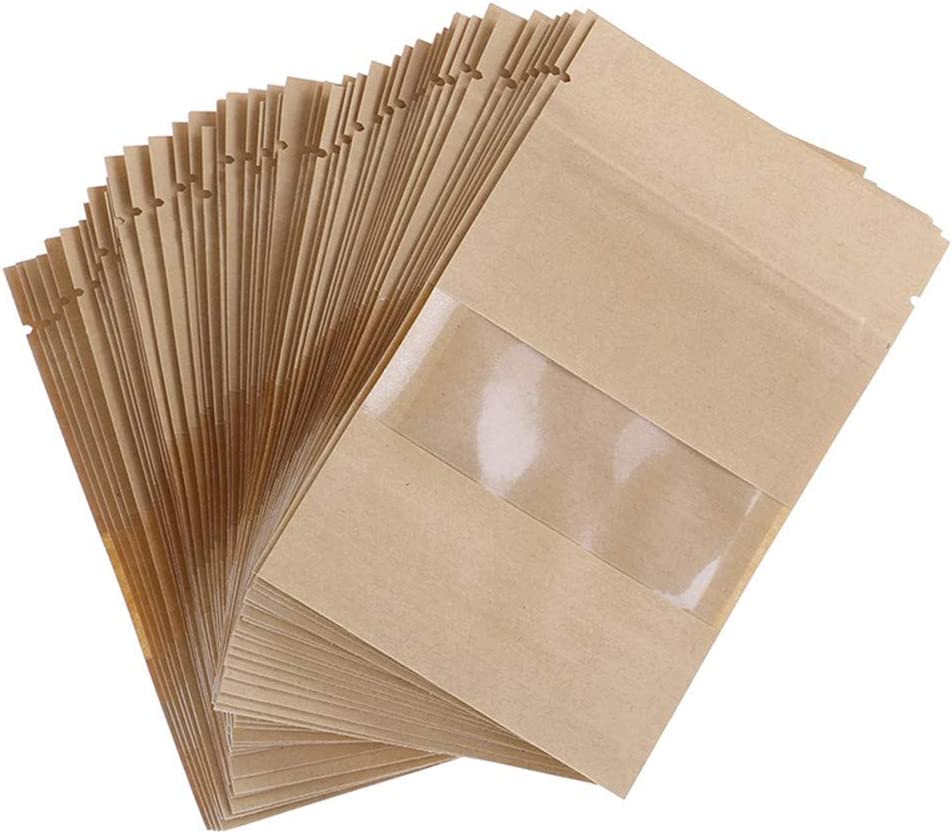 50 pcs Stand Up Kraft Paper Bag, Reusable Zip Lock Sealing with Notch Transparent Window Bags, Food Storage Pouch Ideal for Coffee Beans, Nuts, Biscuits DIY (3.5x5.5 inch)