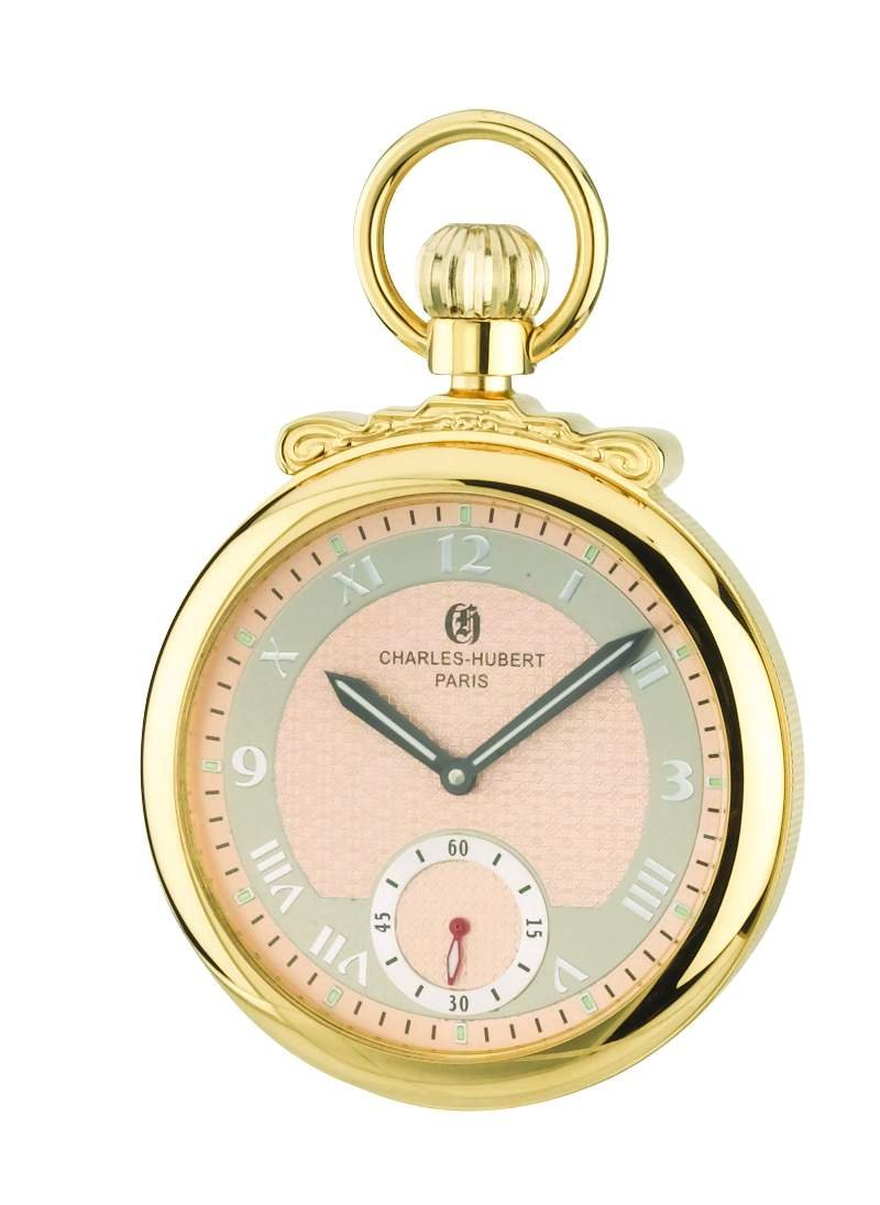 Charles-Hubert, Paris 3873-G Classic Collection Gold-Plated Polished Finish Open Face Mechanical Pocket Watch