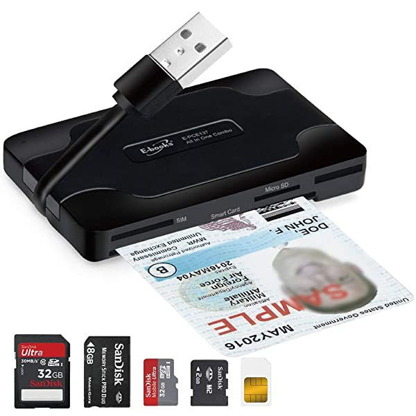 T29 USB Smart Card Memory Card Readers 3-Port USB 2.0 Hub, SD / SDXC / SDHC / MMC, MS, M2, Micro SD, SIM, Government PIV, Military CAC, DoD, USID, USDA LincPass for Windows, Mac, Linux, Digital Camera (Color: Black)