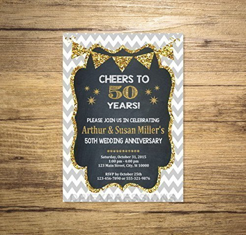 Golden Wedding Anniversary Invitation, Chalkboard & Gold (Digital) Glitter 50th Anniversary Invitation, Chevron Anniversary Invite