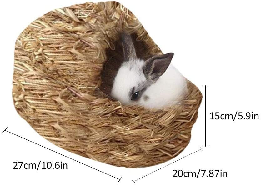 Woven Grass Pet Bed and Toys Small Animals Hammock Sleep Bed Hand-Made Rabbits Hut for Chinchillas funny feng Portable Grass Bed Guinea Pigs modern