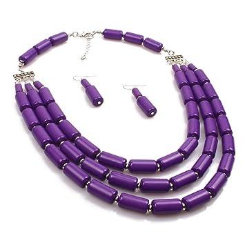 63dd674e8bf9 Fanuosu Conjuntos de Collar y aretes de bisutería Collar Artesanal de  Abalorios de Cuentas Pulsera Pendientes Conjunto de joyería para Mujeres  (Color ...