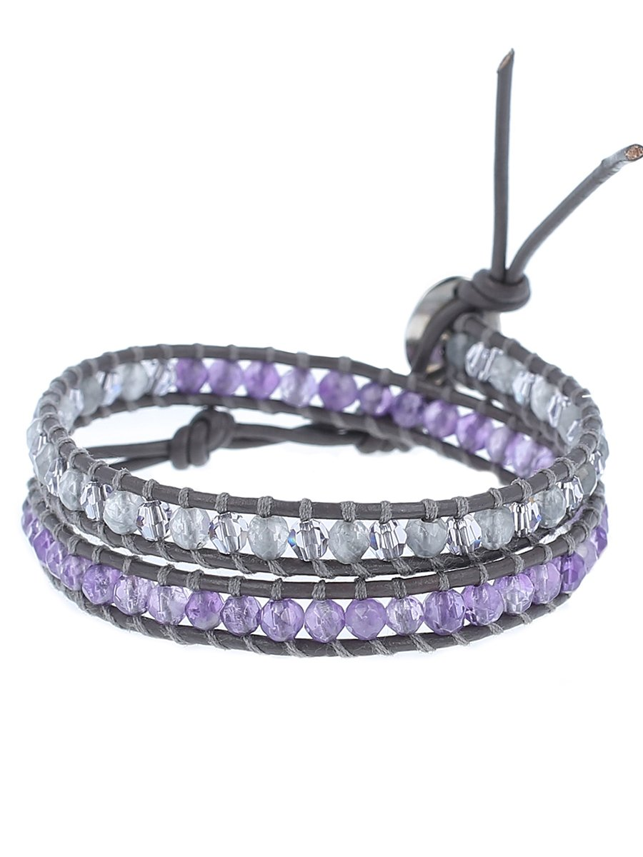 Chan Luu Grey Cloudy Mix Double Wrap Bracelet, BS-4993