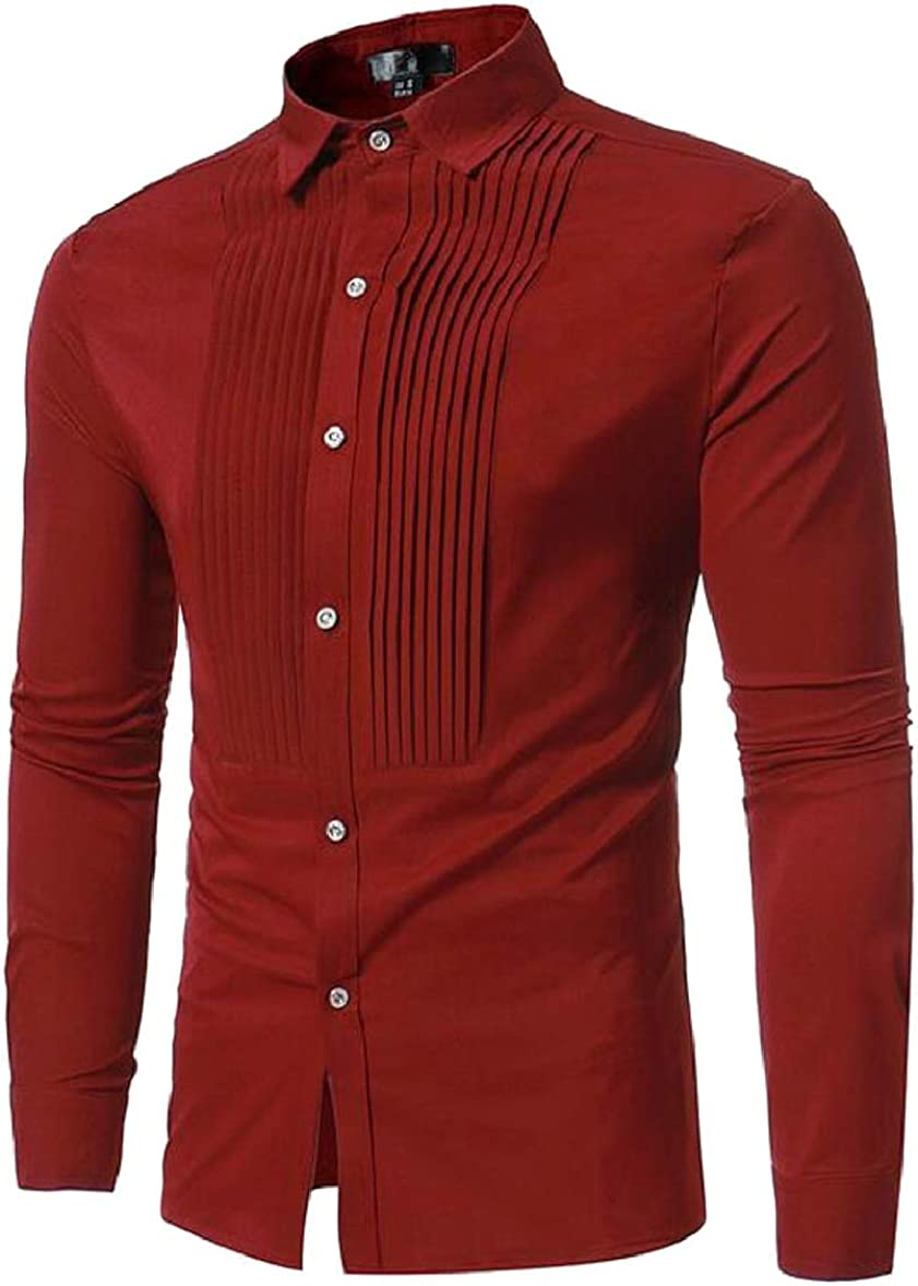 RRINSINS Mens Casual Front Pleated Shirt Long Sleeve Button Down Shirts