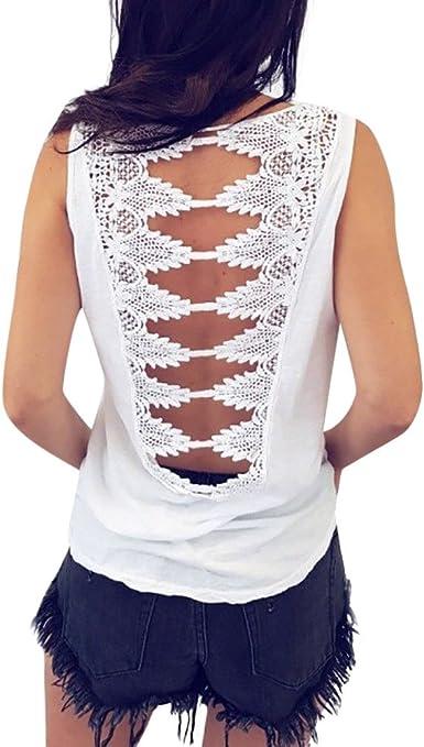 Camiseta de Tirantes para Mujer, Lenfesh Camiseta sin Mangas sin Espalda para Mujer de Las señoras Top Verano Tanque Flojo Tops Blusa Casual Crop Tops Camiseta de Encaje con Tirantes Informal: Amazon.es: