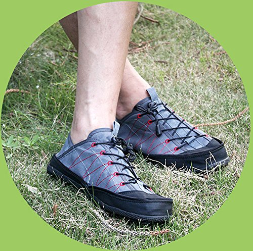 GOMNEAR Portable Pocket Canvas Shoes Women Men Anti-Slip Comfortable Convenient Foldable Outdoor Travel Snekers Grey Lk86hi33BV